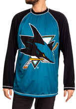 Load image into Gallery viewer, NHL Mens Long Sleeve Rashguard with Wicking Technology- San Jose Sharks Front