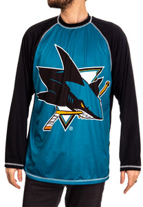 NHL Mens Long Sleeve Rashguard with Wicking Technology- San Jose Sharks Front