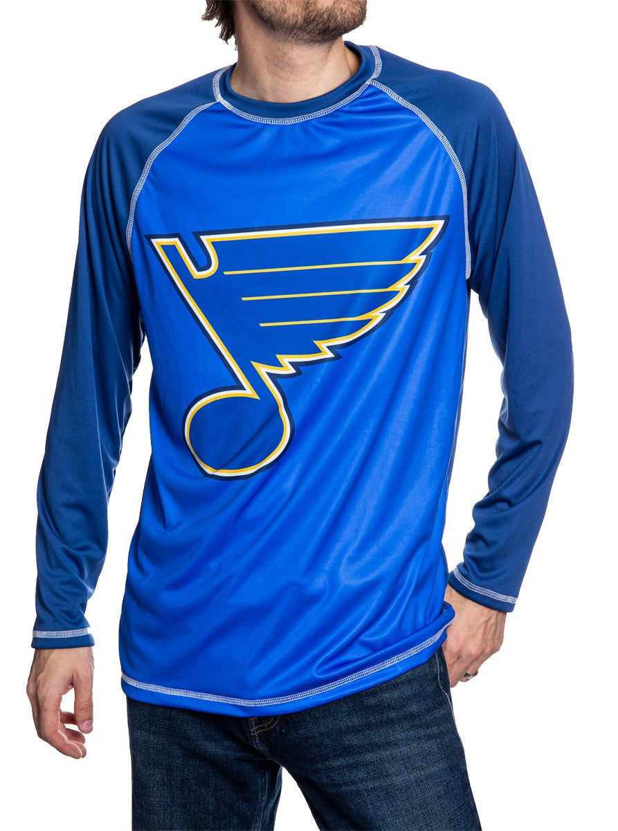 NHL Mens Long Sleeve Rashguard with Wicking Technology- St.Louis Blues Front