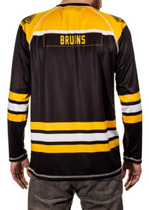 Boston Bruins Game Day Jersey Back View. Bruins Name Tag Across Shoulders.