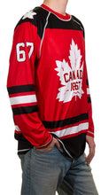 Load image into Gallery viewer, Men's Canada 67 Long Sleeve Rashguard Side View With 67 White on Arm