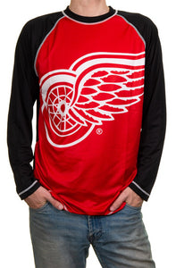 NHL Mens Long Sleeve Rashguard with Wicking Technology- Detroit Red Wings
