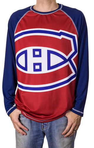 NHL Mens Long Sleeve Rashguard with Wicking Technology- Montreal Canadiens Front