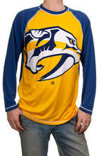 Load image into Gallery viewer, NHL Mens Long Sleeve Rashguard with Wicking Technology- Nashville Predators Front