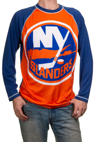 New York Islanders Jersey Style Long Sleeve Rashguard, Front View. Orange and Blue Design.