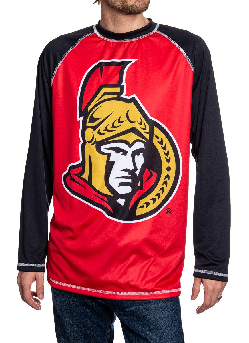 NHL Mens Long Sleeve Rashguard with Wicking Technology- Ottawa Senators Front
