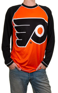 NHL Mens Long Sleeve Rashguard with Wicking Technology- Philadelphia Flyers Front