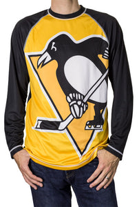 NHL Mens Performance Long-Sleeve Rash Guard-Pittsburgh Penguins Front