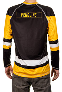NHL Mens Long-Sleeve Performance Game Day Rash Guard- Pittsburgh Penguin Back