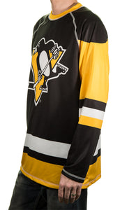 NHL Mens Long-Sleeve Performance Game Day Rash Guard- Pittsburgh Penguin Side