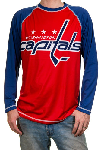 NHL Mens Long Sleeve Rashguard with Wicking Technology- Washington Capitals Front