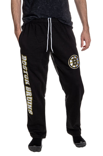 Boston Bruins Premium Fleece Sweatpants Front View.