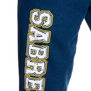 Buffalo Sabres Premium Fleece Sweatpants Close Up Of Leg Transfer.