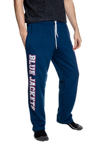 Columbus Blue Jackets Premium Fleece Sweatpants Side View of Blue Jackets Writing.