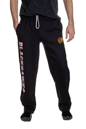 Chicago Blackhawks Premium Fleece Sweatpants Front View.