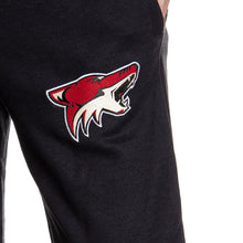 Load image into Gallery viewer, Arizona Coyotes Premium Fleece Sweatpants Close Up of Embroidered Logo.
