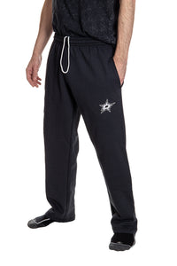 Dallas Stars Premium Fleece Sweatpants Side View of Embroidered Logo.