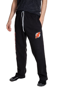 New Jersey Devils Premium Fleece Sweatpants  Side View of Embroidered Logo.