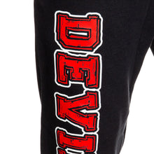 Load image into Gallery viewer, New Jersey Devils Premium Fleece Sweatpants Close Up of Devils Print.