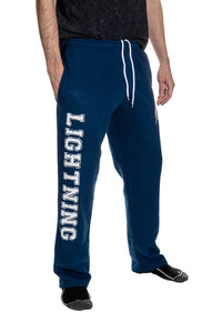 Tampa Bay Lightning Premium Fleece Sweatpants Side View of Lightning Print.