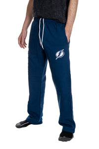 Tampa Bay Lightning Premium Fleece Sweatpants Side View of Embroidered Logo.