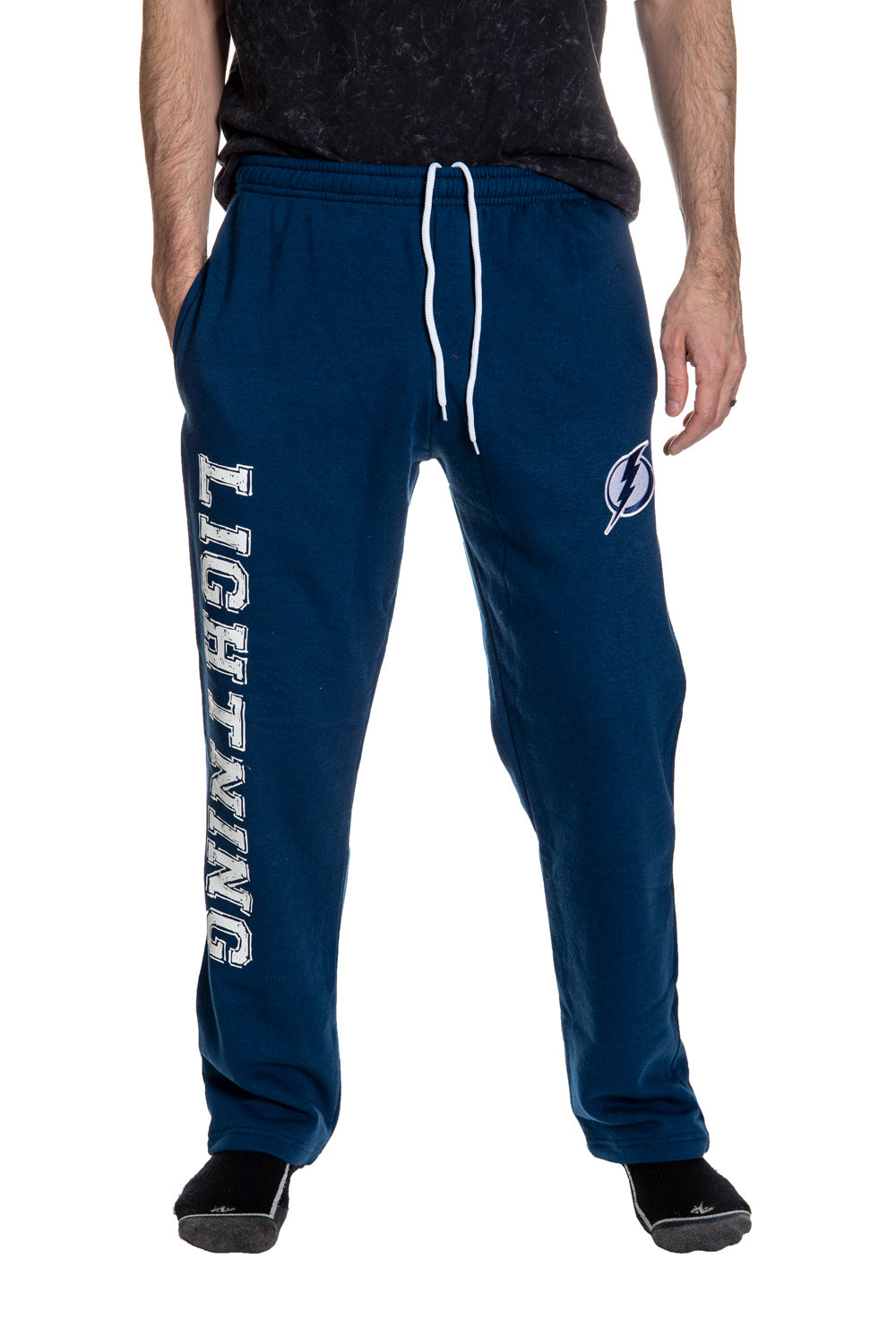 Tampa Bay Lightning Premium Fleece Sweatpants Front View.