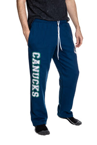 Vancouver Canucks Premium Fleece Sweatpants Side View of Canucks Print.