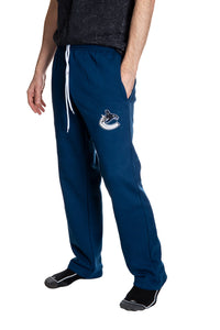 Vancouver Canucks Premium Fleece Sweatpants Side View of Embroidered Logo.