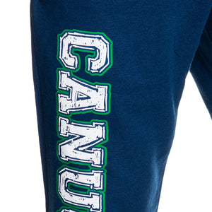 Vancouver Canucks Premium Fleece Sweatpants Close Up of Canucks Print.