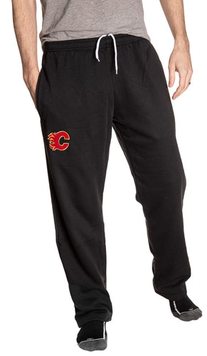 Calgary Flames Black Sweatpants Front View