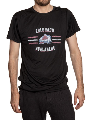 Men's Officially Licensed NHL Distressed Lines Short Sleeve Performance Rashguard Wicking T-Shirt- Colorado Avalanche Man Wearing Shirt