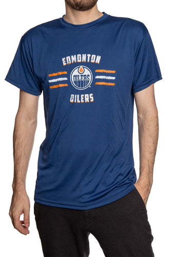 Men's Officially Licensed NHL Distressed Lines Short Sleeve Performance Rashguard Wicking T-Shirt- Edmonton Oilers Man Wearing Shirt With Hand In Pocket