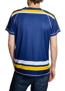 St. Louis Blues Short Sleeve Game Day Rashguard Back View.