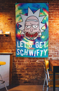 "Calhoun Rick and Morty Indoor Wall Banner - Get Schwifty  (30"" by 50"") Hanging on Wall"