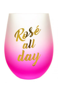 "Frosted Gradient Stemless Wine Glass-""Rosé All Day"""