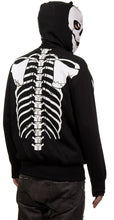 Load image into Gallery viewer, Calhoun Men's Glow in The Dark Skeleton Costume Zip Hoodie Back View Full Skeleton Print On Back of Hoodie