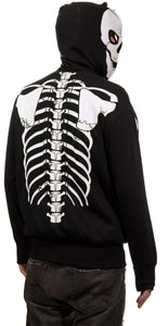 Calhoun Men's Glow in The Dark Skeleton Costume Zip Hoodie Back View Full Skeleton Print On Back of Hoodie