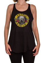 Load image into Gallery viewer,  Guns N Roses Distressed Logo Bullet Flowy Racerback Cover Up- Black