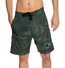 Load image into Gallery viewer, San Jose Sharks Green Camo Boardshorts Front View