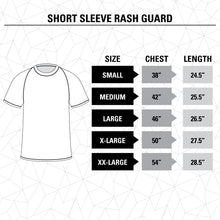 Load image into Gallery viewer, St. Louis Blues Game Day Rashguard Size Guide.