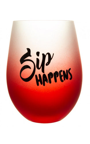 Frosted Gradient Stemless Wine Glass - Sip Happens