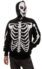 Load image into Gallery viewer, Men's Glow in The Dark Skeleton Costume Zip Hoodie front view full zip up covering face