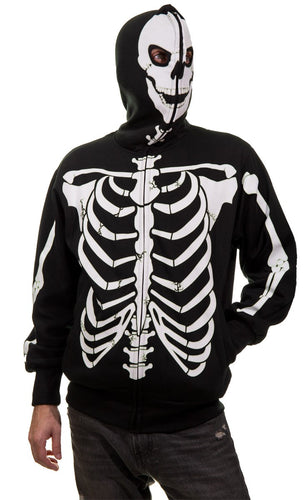 Men's Glow in The Dark Skeleton Costume Zip Hoodie