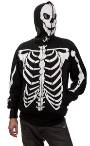 Men's Glow in The Dark Skeleton Costume Zip Hoodie front view full zip up covering face