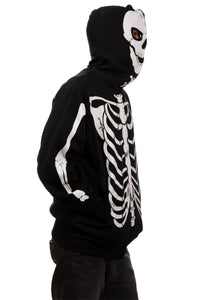 Calhoun Men's Glow in The Dark Skeleton Costume Zip Hoodie Side View