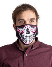 Load image into Gallery viewer, Sugar Skull Face Mask, Modeled.