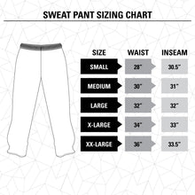 Load image into Gallery viewer, Anaheim Ducks Premium Fleece Sweatpants Size Guide.
