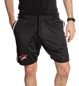 NHL Mens Official Team Two-Stripe Shorts- Arizona Coyotes Full Front View Of Man Wearing Shorts