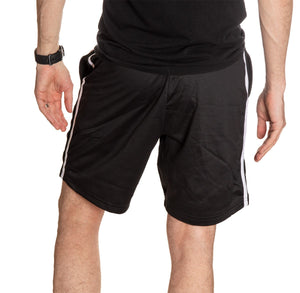 NHL Mens Official Team Two-Stripe Shorts- San Jose Sharks Full Length Back View Of Man Wearing Shorts