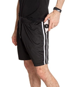NHL Mens Official Team Two-Stripe Shorts- San Jose Sharks Full Length Side View Of Man With Hand ON Cellphone In Pocket With Side Stripes